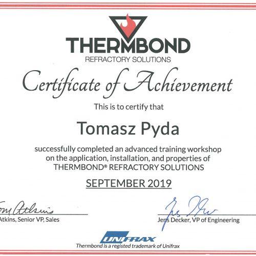 Certyfikat Thermbond Tomasz Pyda